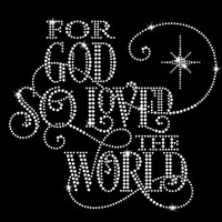 For God So Loved the World Iron On Rhinestone Transfer