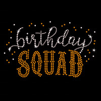 Birthday Squad Iron On Rhinestone & Gold Rhinestud Transfer