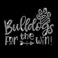 Bulldogs for the Win Iron On Rhinestone Transfer
