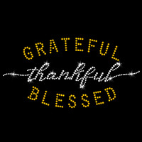 Grateful Thankful Blessed Iron On Rhinestone Transfer