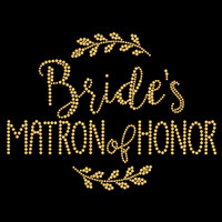 Matron of Honor Laurel Gold Iron On Rhinestud Transfer