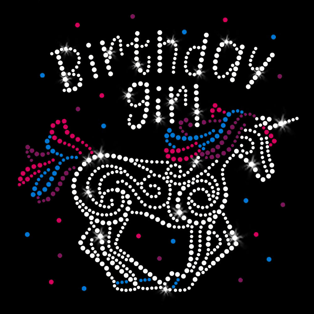 Birthday Girl Unicorn Iron On Rhinestone and Rhinestud Transfer