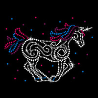 Unicorn Party Iron On Rhinestone and Rhinestud Transfer