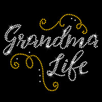 Grandma Life Iron On Rhinestone and Rhinestud Transfer