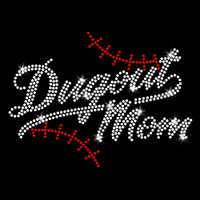 Dugout Mom Iron On Rhinestone and Rhinestud Transfer