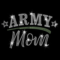 Army Mom Iron On Rhinestone Transfer