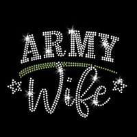 Army Wife Iron On Rhinestone Transfer