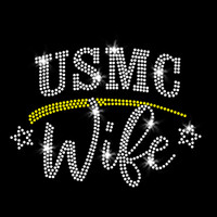 USMC Wife Iron On Rhinestone Transfer