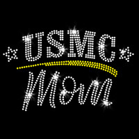 USMC Mom Iron On Rhinestone Transfer