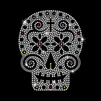 Sugar Skull Iron On Rhinestone Transfer