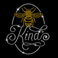 Bee Kind Iron On Rhinestone and Rhinestud Transfer