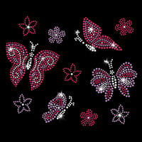 Butterflies Iron On Rhinestone and Rhinestud Transfer