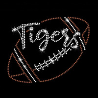 Tigers Script Football Iron On Rhinestone and Rhinestud Transfer