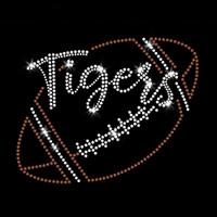 Tigers Script Football Iron On Rhinestone and Rhinestud Transfer