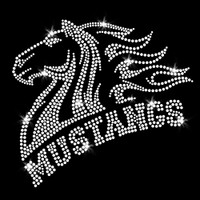 Mustangs Mascot Iron On Rhinestone Transfer