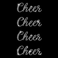 Set of 4 Cheer Script Iron On Rhinestone Transfer
