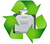 toughbook surrounded by green recycle arrows