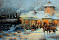 Leanin' Tree #C73666 Train Station Christmas Card - (10-pk)