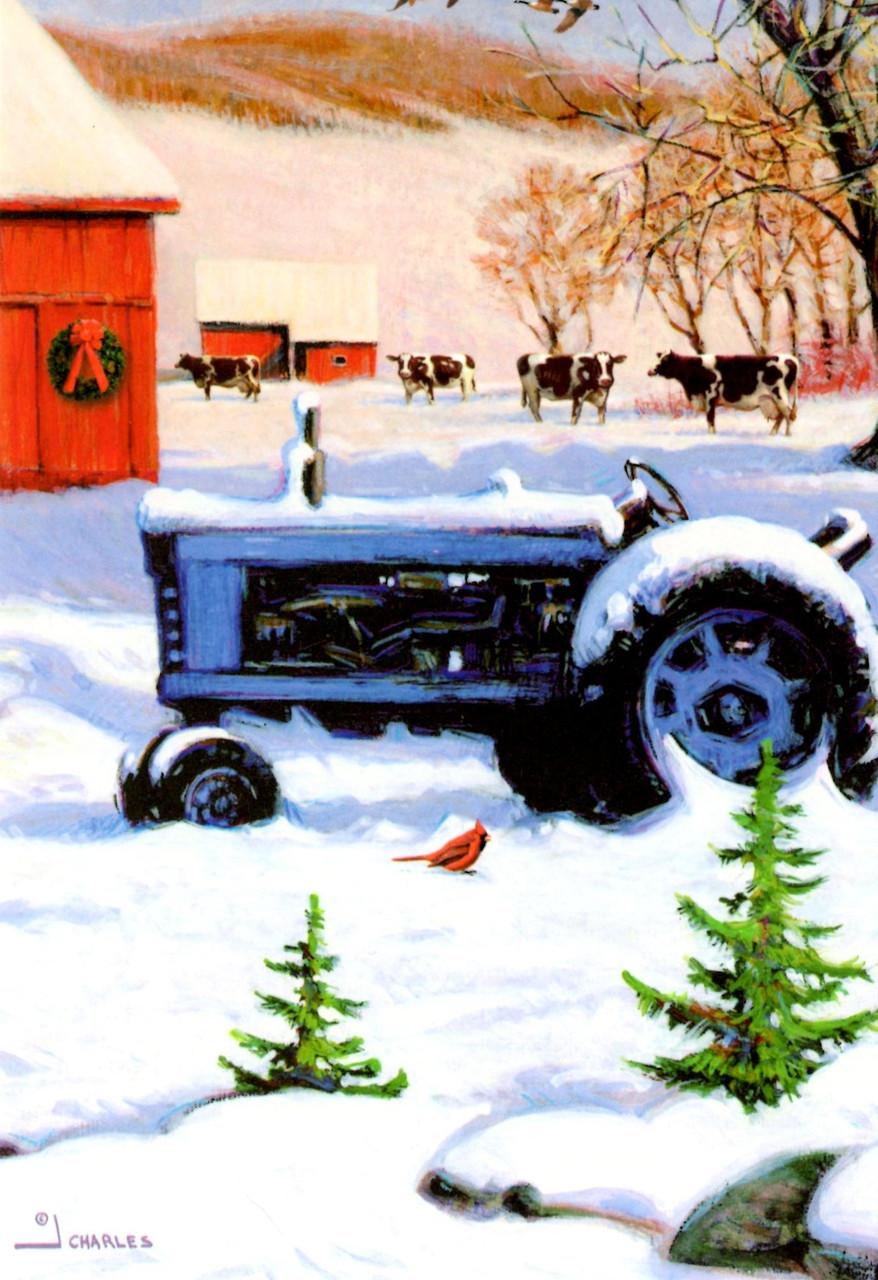 Leanin Tree Christmas Cards.Leanin Tree C73691 Farm Tractor Christmas Cards 10 Pk