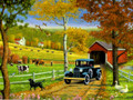 BDG11771 Birthday Card - Autumn Country Scene w Old Truck