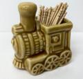 #TPH1 Steam Locomotive Ceramic Toothpick Holder - Tan