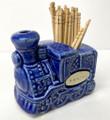 #TPH2 Steam Locomotive Ceramic Toothpick Holder - Kansas Blue