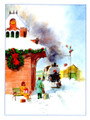 Christmas Train Watercolor Christmas Card - Single
