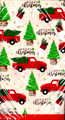 repeating pattern - red farm truck and pine trees