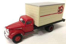 red cab with white box.  Owl logo in top rear corner.