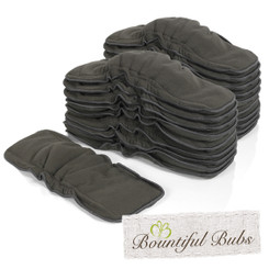 Charcoal Bamboo Boosters With Elastic - 6 layers x 20, Bountiful Bubs