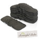 Newborn Charcoal Bamboo Boosters With Elastic - 6 layers x 10, Bountiful Bubs