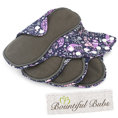 Reusable Cloth Pad, 4 Pack, Medium, Purple Peace Bountiful Bubs