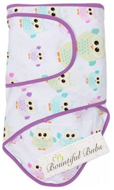 Newborn Baby Wrap. Cotton Swaddle Blanket - Owls