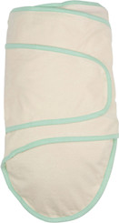 Miracle Blanket Baby Swaddle - Beige with green trim