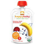 Happy Baby Banana, Beets & Blueberry Stage 2 Baby Food (16x3.5 Oz)