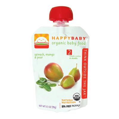 Happy Baby Organic Stage 2 Pouch Foods Spinach, Mango & Pear (16x3.5 Oz)