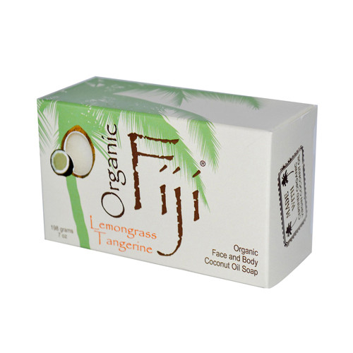 Organic Fiji Organic Face and Body Coconut Oil Soap Lemongrass Tangerine 7 Oz