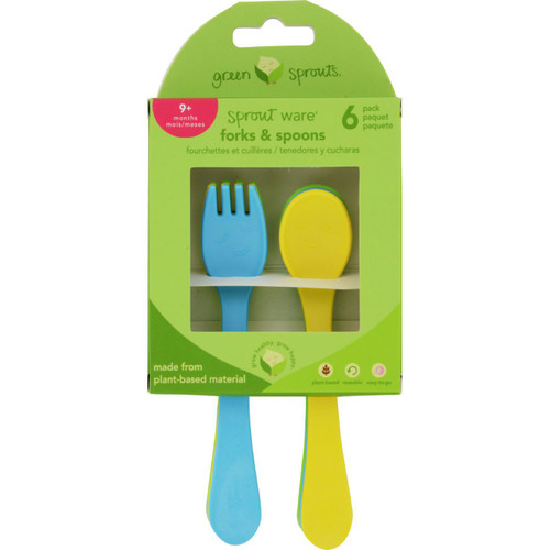 Green Sprouts Forks and Spoons Sprout Ware 9 Months Plus Aqua Assorted 6 Pack