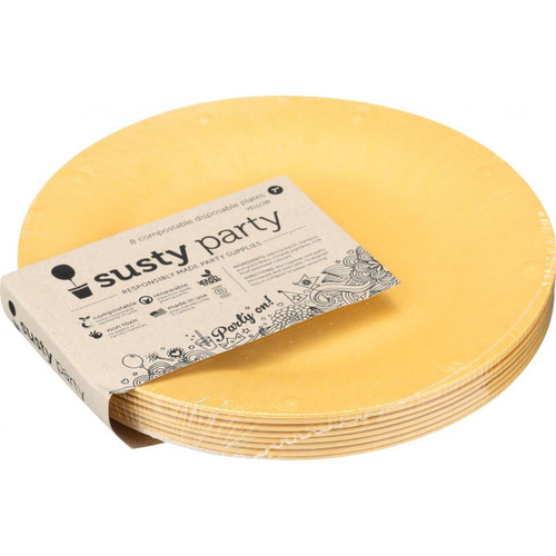 Susty Party Plates Compostable 7 in Yellow 8 Count Case of 4