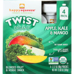 Happy Squeeze Fruit and Veggie Snack Organic Blended Twist Apple Kale and Mango 4/3.17 oz case of 4