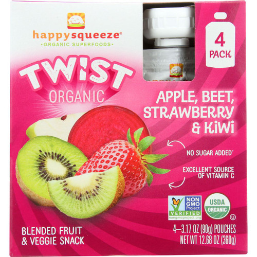 Happy Squeeze Fruit and Veggie Snack Organic Blended Twist Apple Beet Strawberry and Kiwi 4/3.17 oz case of 4