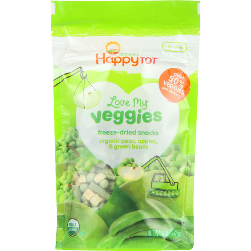 Happy Tot Toodler Food Organic Love My Veggies Freeze Dried Peas Apples and Green Beans .88 oz case of 8