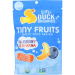 Little Duck Organics Freeze Dried Snacks Organic Tiny Fruits Blueberry and Banana Ages 1 Year Plus .75 oz case of 6