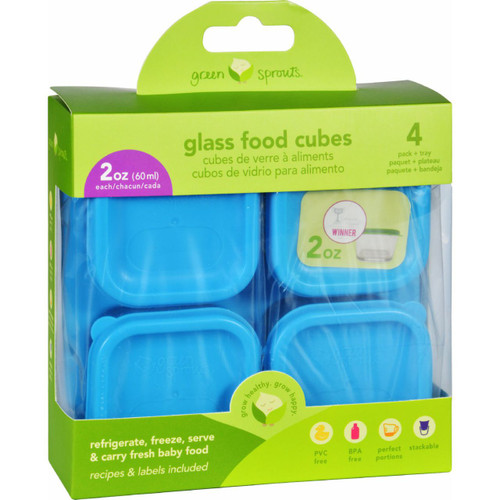 Green Sprouts Storage Cubes Glass Fresh Baby Food Aqua 2 oz 4 Pack