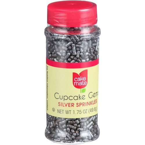 Cake Mate Decorating Cupcake Gems Silver Sprinkles 2.2 oz Case of 6