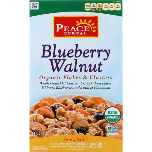Peace Cereals Cereal Organic Flakes and Clusters Blueberry Walnut 11 oz case of 6