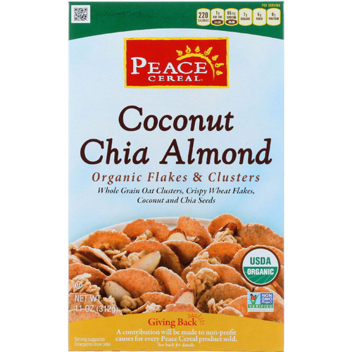 Peace Cereals Cereal Organic Flakes and Clusters Coconut Chia Almond 11 oz case of 6