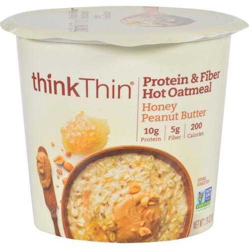 Thank Products Oatmeal Protein and Fiber Hot thinkThin Honey Peanut Butter Bowl 1.76 oz Case of 12