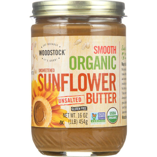 Woodstock Nut Butter Organic Sunflower Organic Smooth Unsalted Unsweetened 16 oz case of 12
