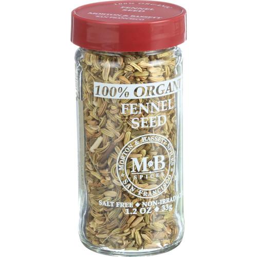 Morton and Bassett 100% Organic Seasoning Fennel Seed 1.2 oz Case of 3